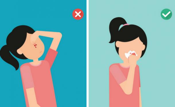 Правильное положение при носовом кровотечении
